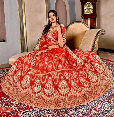 Red Embroidered Silk Online Shopping Sites For Lehenga Choli