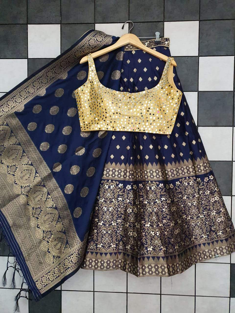 Navy Blue Banarasi Lehenga With Mirror Work Blouse India Online