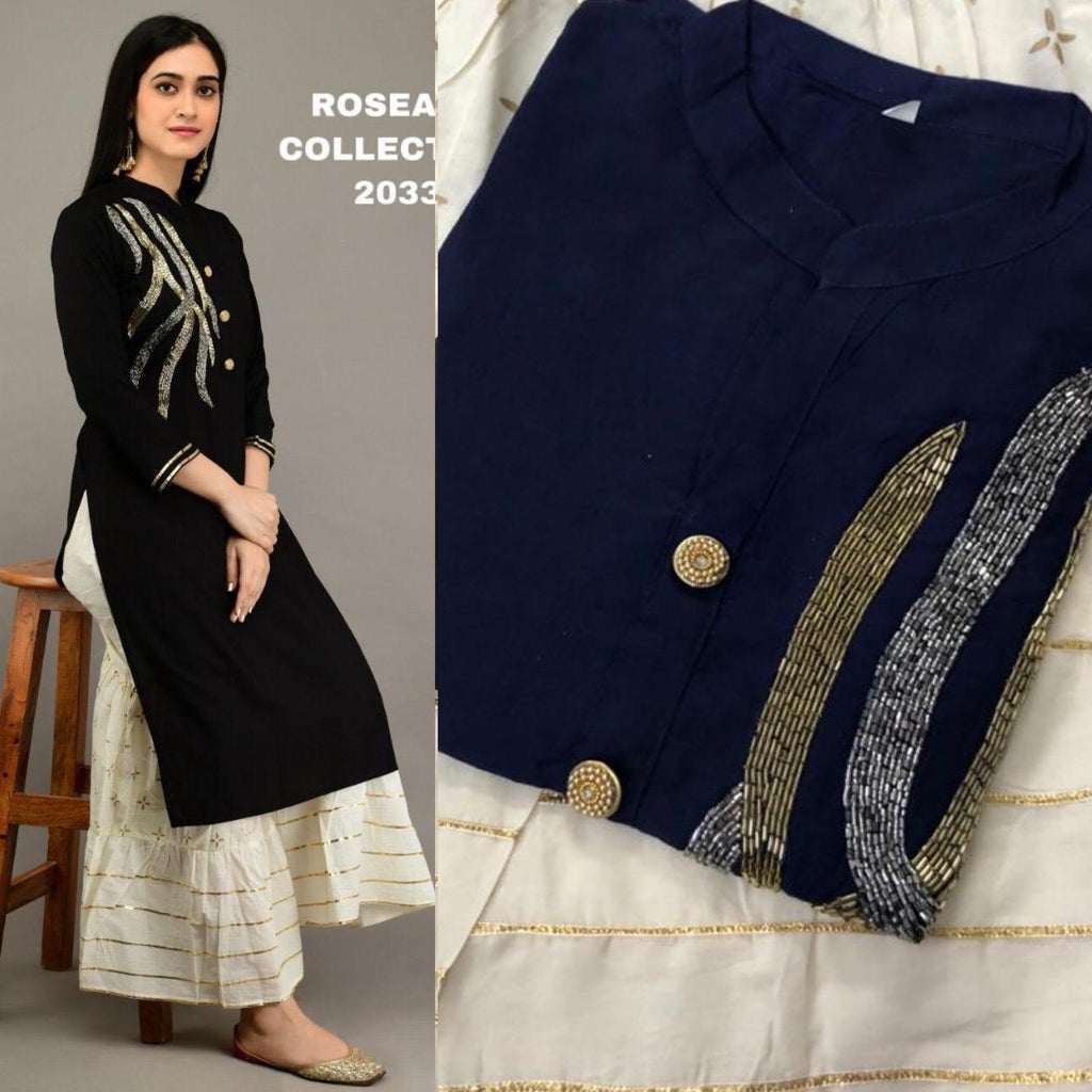 Navy Blue Embroidered Kurtis Sharara Shalwar Kamiz Designs