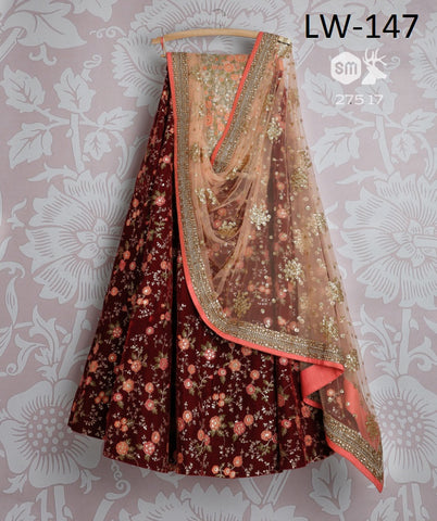 Maroon  Sequins Embroidered Taffeta Silk Lehengas Online Shopping India