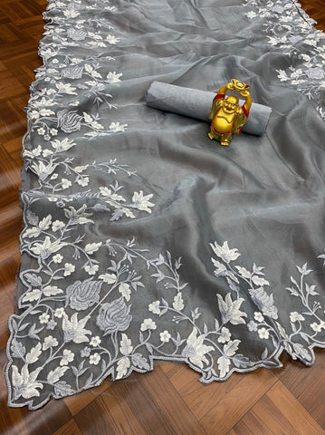 Off White  Faux Georgette Anarkali Ladies Suit Online Shopping