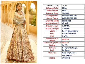 Light Beige Silk Embroidered New Indian Wedding Lehenga Online