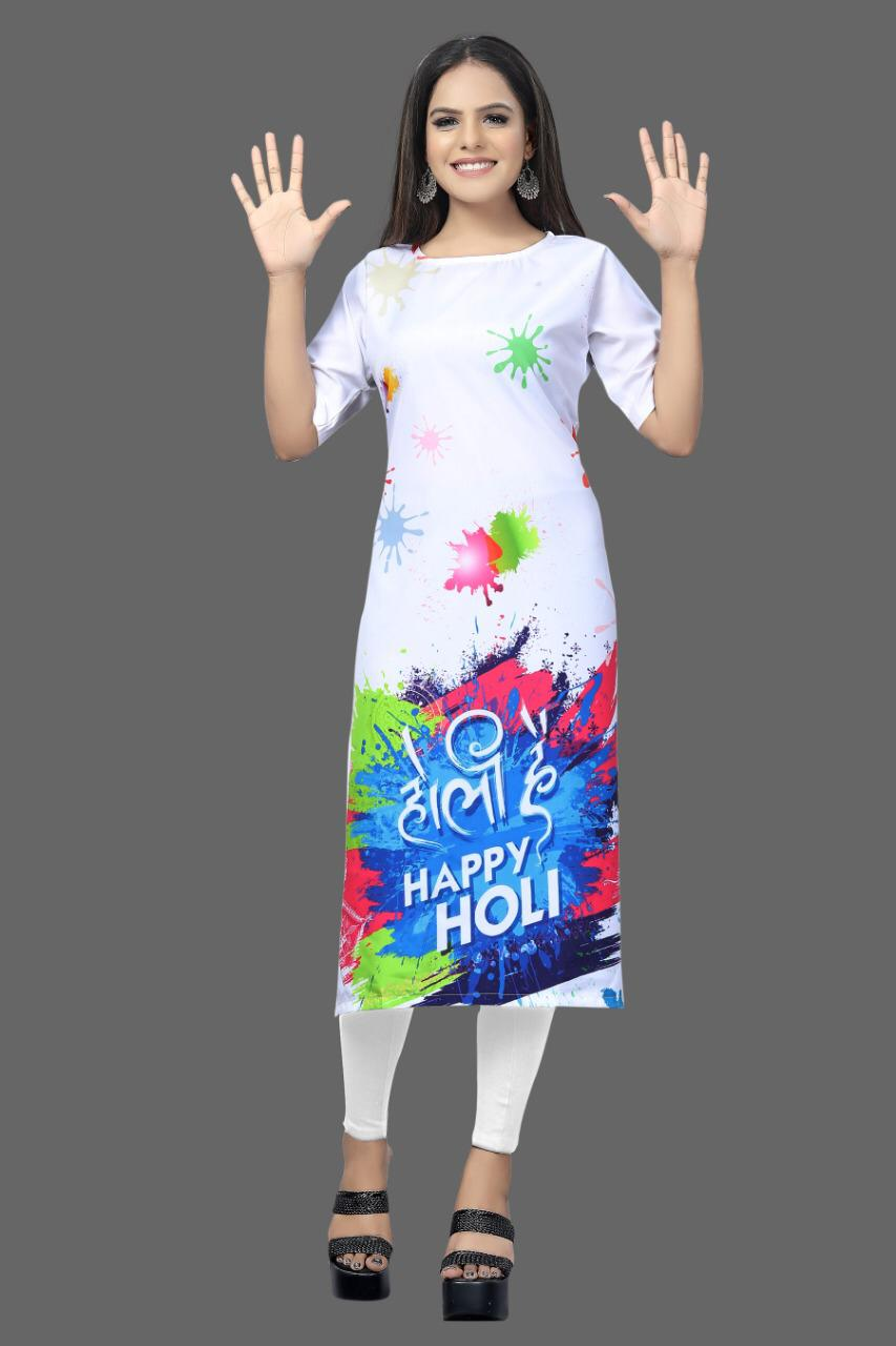 White Crepe Digital Printed Kurtis For Holi