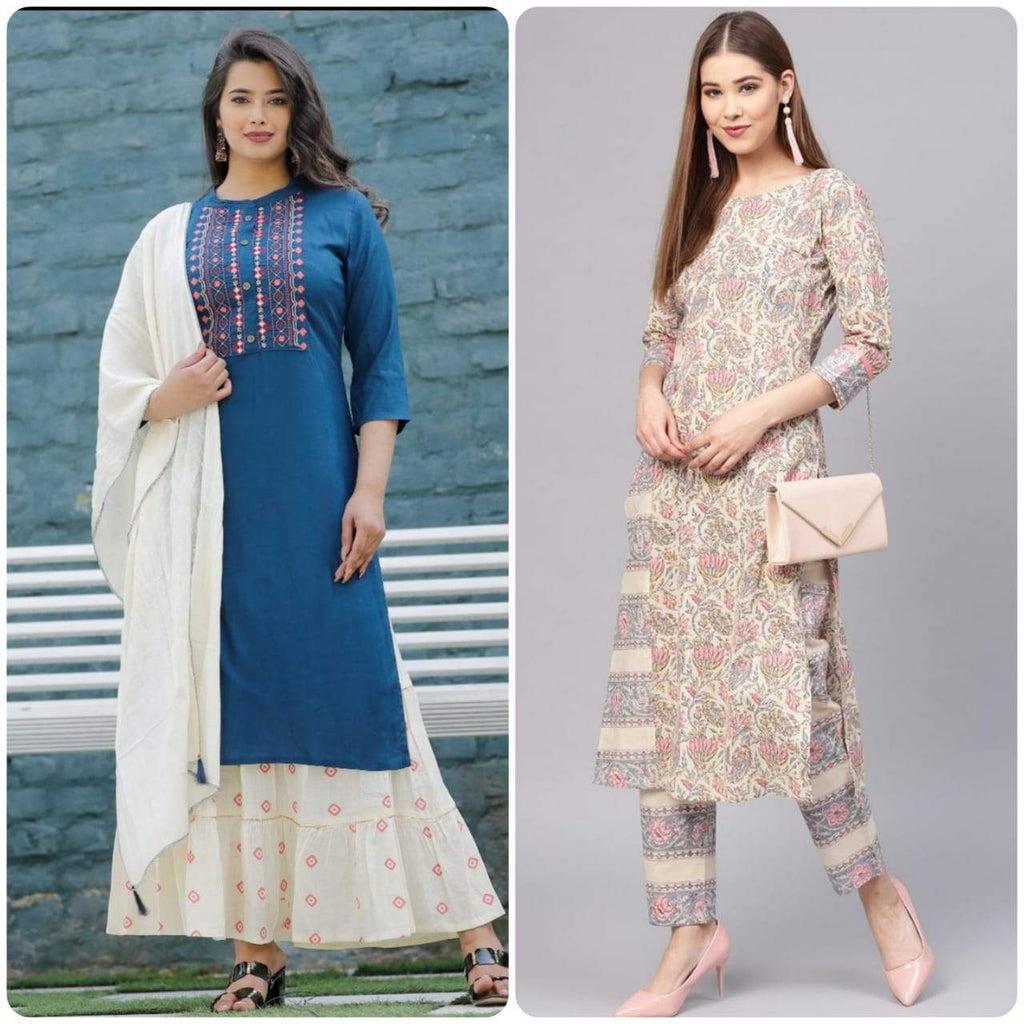 Buy Beige & Grey Printed Jaipuri Kurta With Palazzos and Blue Jaipuri kurta with Sharara & Dupatta combo sets