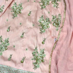 Blush Pink Antique Look Gold Floral Handwork Kurta With Flared Pants
