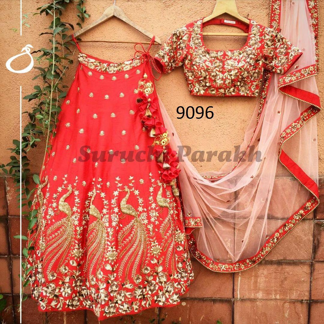 Red Embroidered Taffeta  Silk Party Wear New Lehenga Choli Style