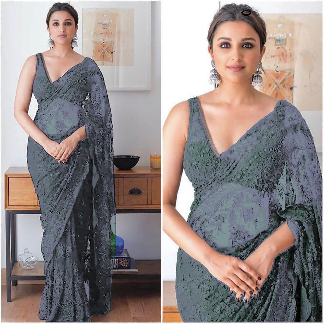 Parineeti Chopra Grey Net Embroidered Party Wear Saree In India
