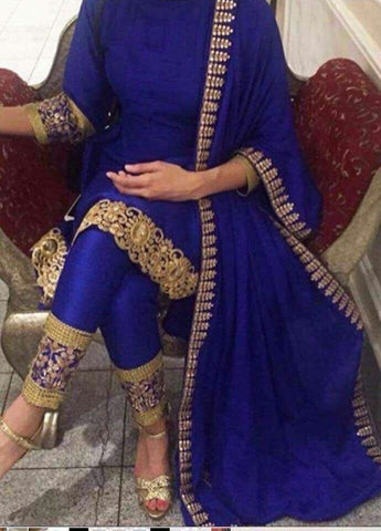 Blue Silk Latest Design Of Shalwar Kameez