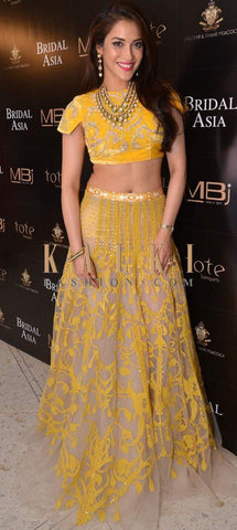 Yellow Net Stylish Bollywood Designs Indian Dress Choli