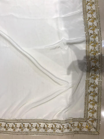 White French Crepe Elegant Designer Replica Saree Blouse Online