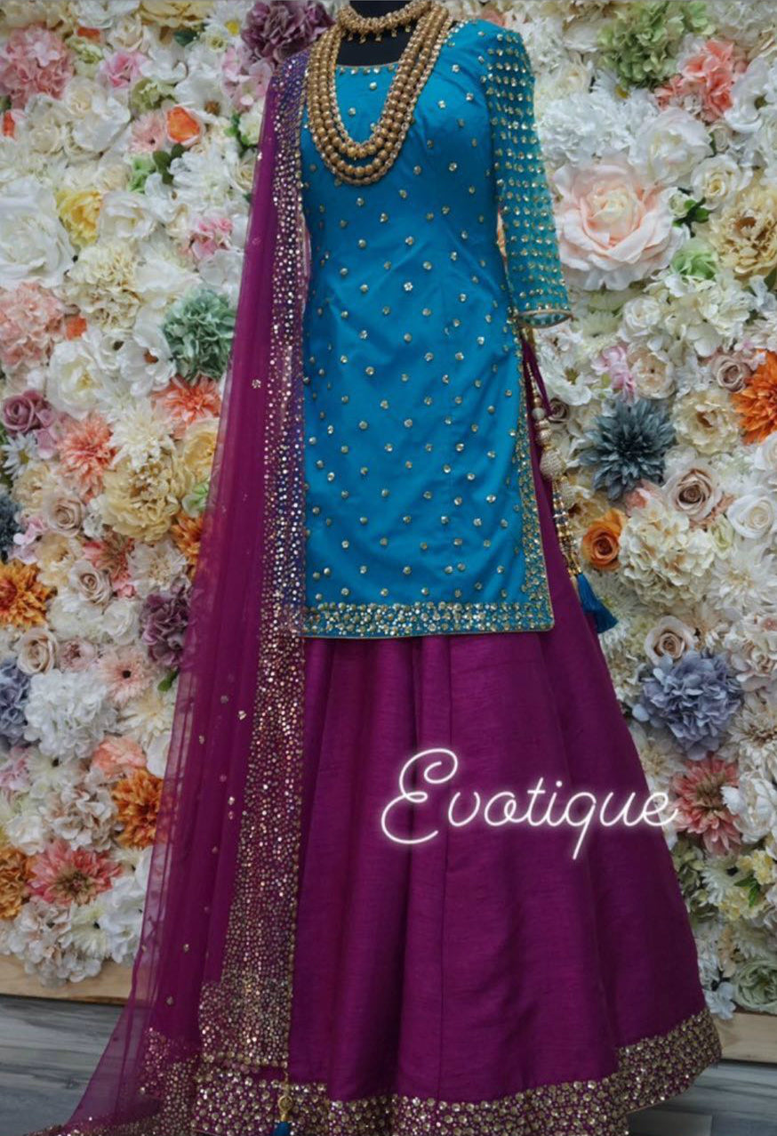 Blue Magenta Raw Silk Long Choli Latest Lehenga Choli Online