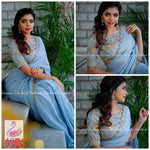Beautiful Light Blue Embroidered Georgette Fancy Party Sarees Online