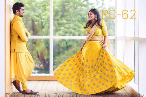 Yellow Embroidered Banglori Silk Online Lehenga Choli Shopping