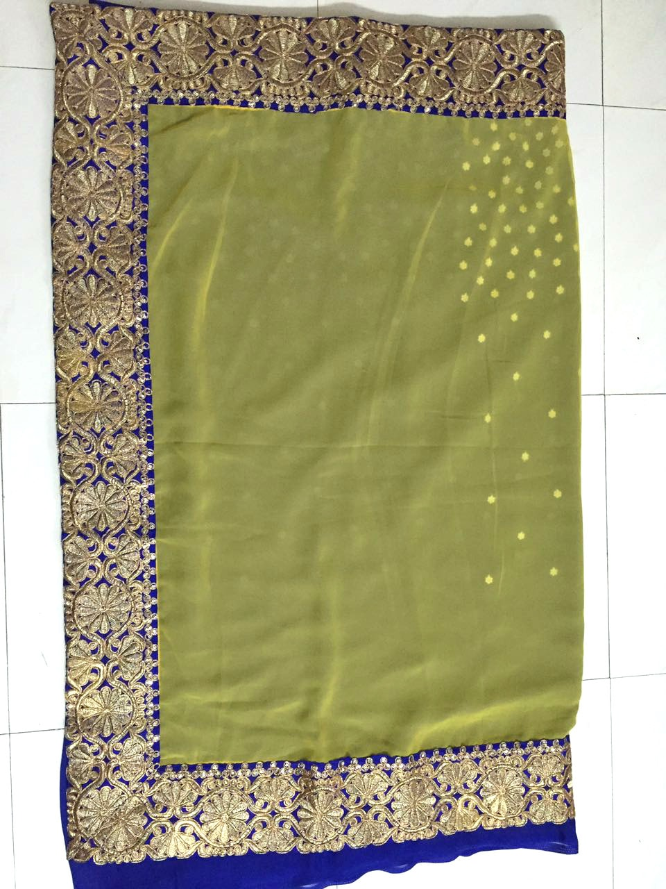 Glam Yellow Blue Georgette Designer Bollywood Saree ,Indian Dresses - 2