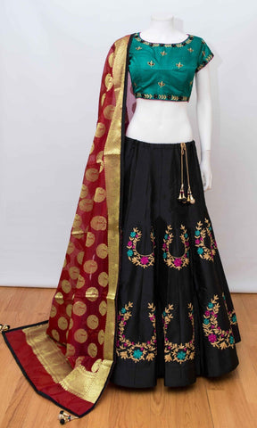 Black Thai Silk Embroidered Indian Ghagra Choli Online Shop