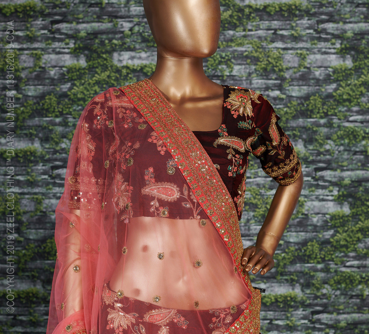 Maroon Taffeta Silk Embroidered Latest Lehenga Designs For Wedding With Price