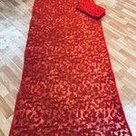 Red Net Embroidered Latest Party Wear Fashionable Sari