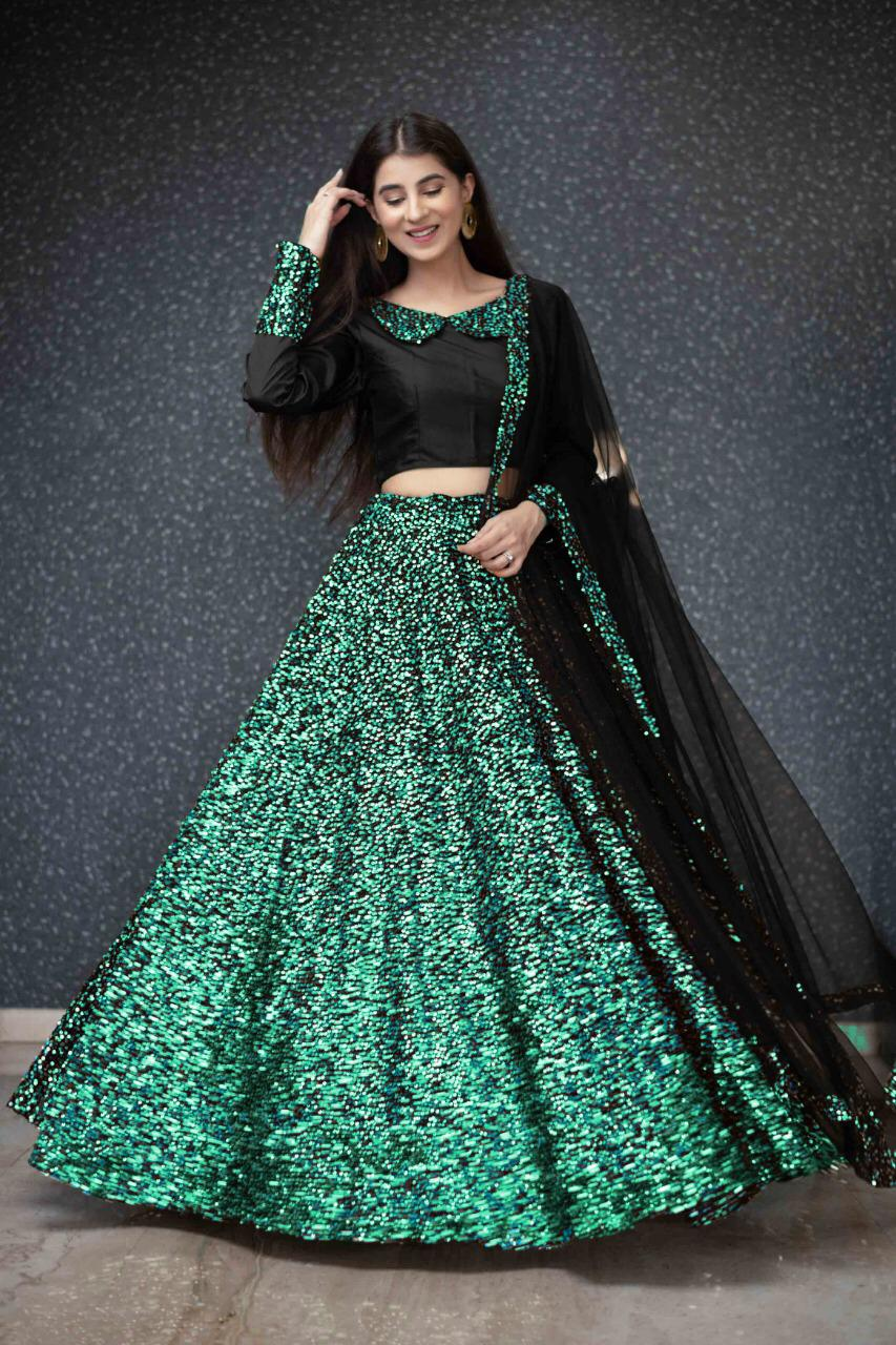 Green Sequins In Velvet Latest Party Lehenga Online Shopping