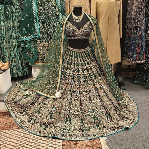 Deep Green Malai Satin Embroidered Indian Party Wear Lehenga Cholis