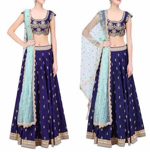 Navy Blue Embroidere Raw Silk Choli Designs 2017