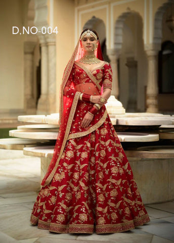 Red Embroidered Taffeta Silk Party Dress Choli Lengha Online Buy