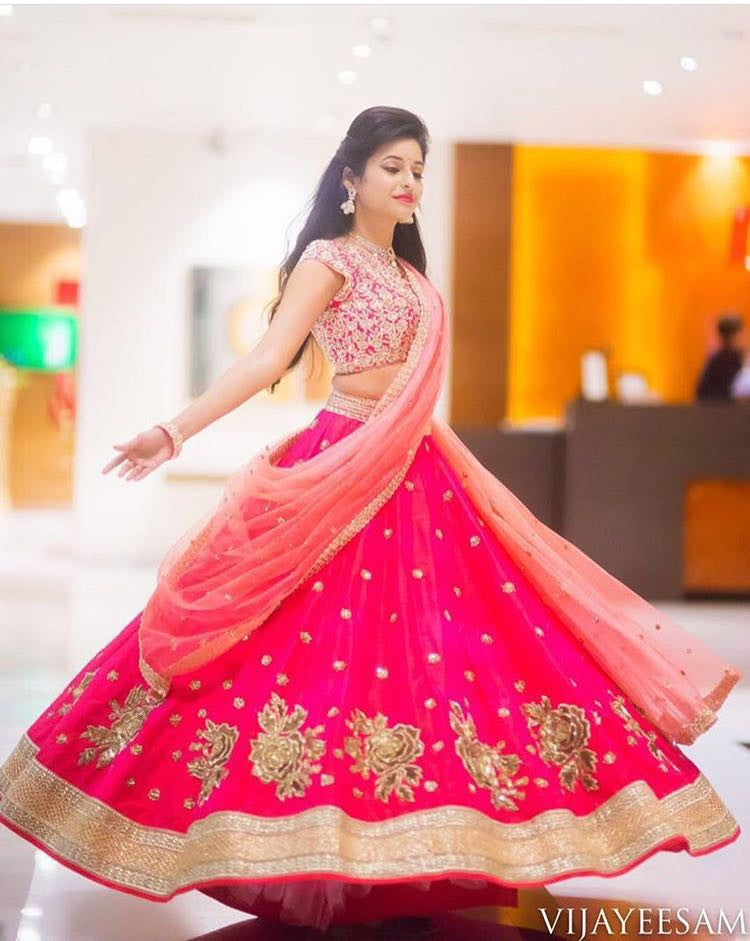 Pink Bangalore Silk Bollywood Lenghacholi ,Indian Dresses - 1