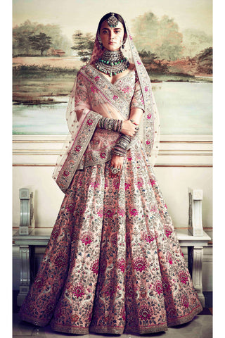 Pink Taffeta Silk Heavy Embroidered Indian Lehenga Choli For Wedding