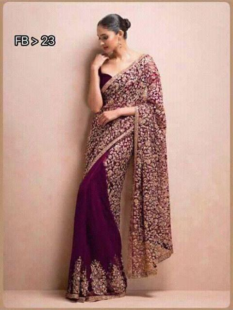 Purple Net Georgette Half Saree Indian Dresses Online Shopping