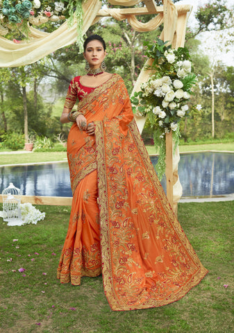 Embroidered Orange Art Silk Fashionable Sarees With Price