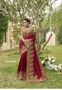 Maroon Art Silk Embroidered Latest Indian Saree Design And Price