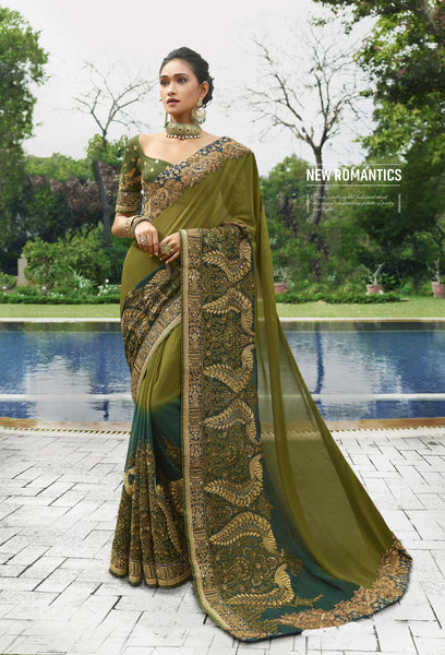 Embroidered Olive Green And Teal New Fashion Saree With Price