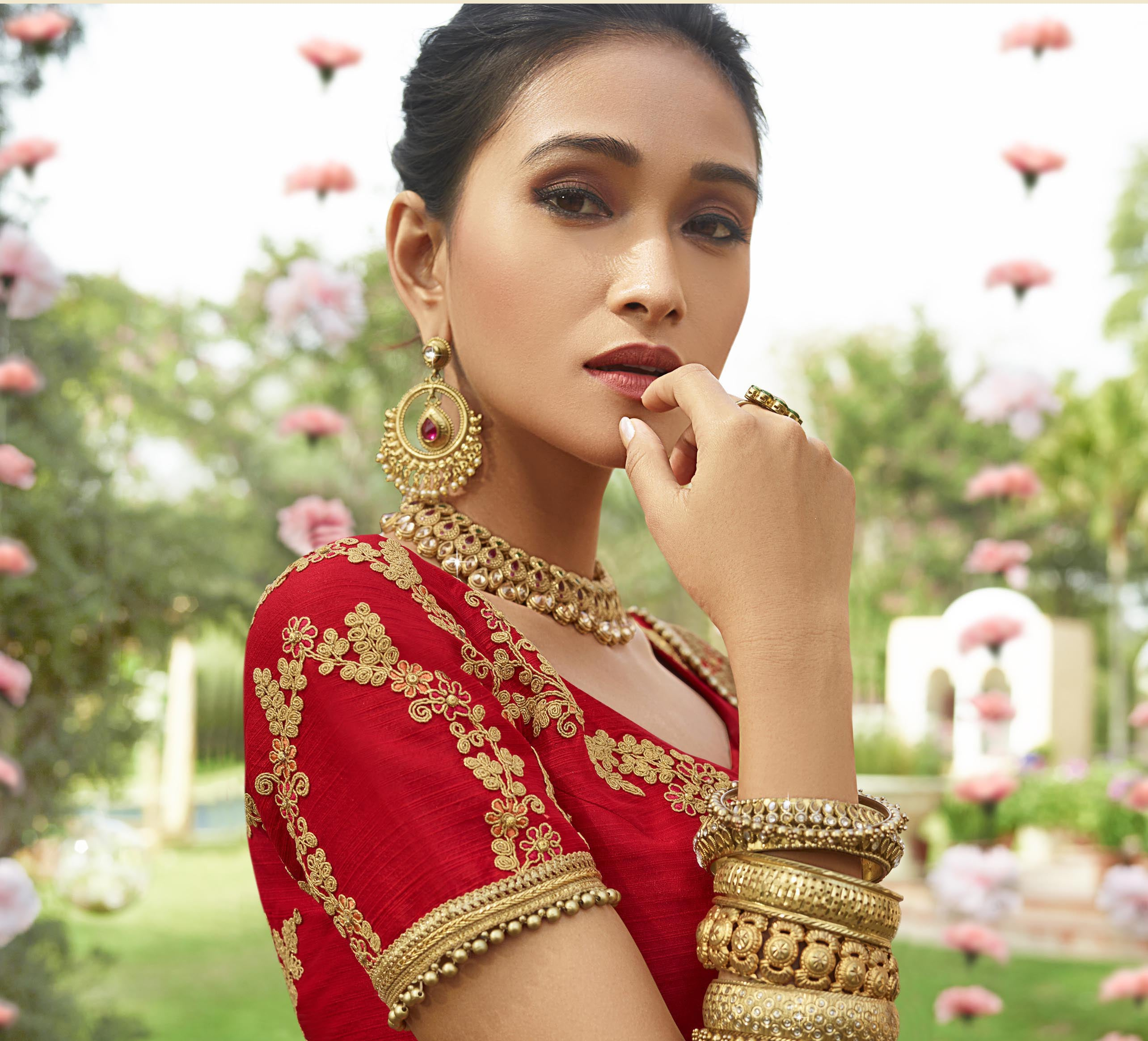 Embroidered Red Art Silk Beautiful Indian Wedding Sarees Online Indian Dresses
