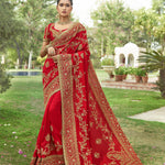 Embroidered Red Art Silk Beautiful Indian Wedding Sarees Online