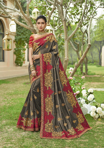 Grey Art Silk Embroidered Party Wear Online Shopping Site For Sarees