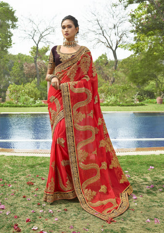 Coral Red Party Wear Embroidered Latest Model Sarees Online Shopping