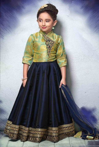 Pista Green And Navy Blue Kids Lehenga For Party Wear