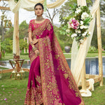 Embroidered Hot Pink Art Silk Party Wear Saree Collection With Price