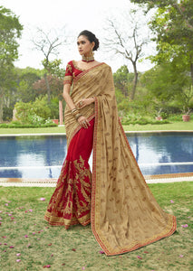 Beige And Red Art Silk Party Wear New Designs Of Sarees