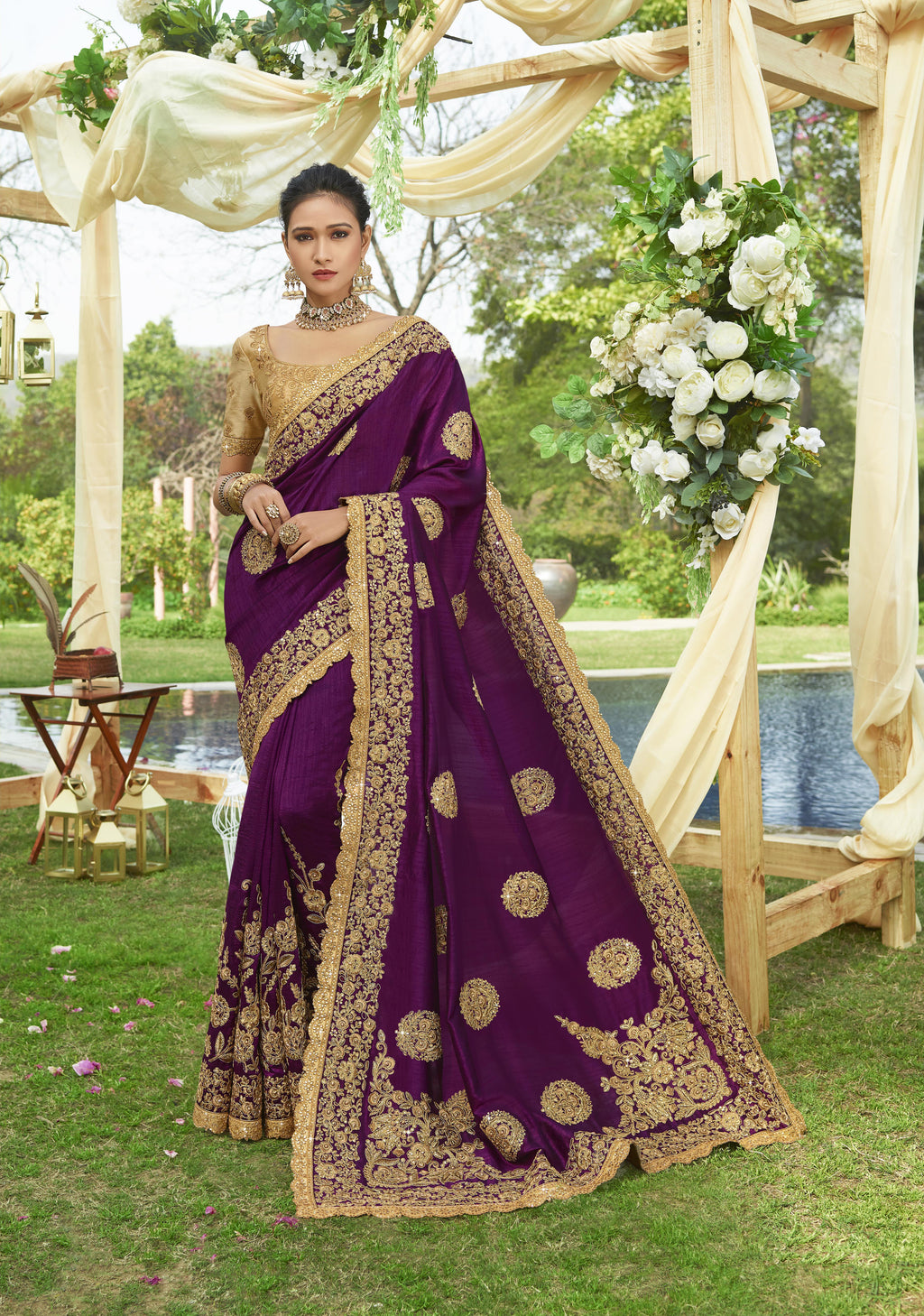 Purple Art Silk Embroidered Designer Saree Collection For Wedding With Price