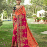 Pink Peach Fancy Art Silk Embroidered Sarees Online Shopping Indian Dresses
