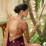 Wine And Peach Puff Art Silk Embroidered Best Indian Sarees Online Shopping