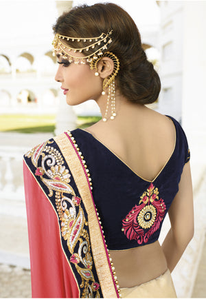 Red And Cream Crepe Chiffon Designer Saree Online Shopping