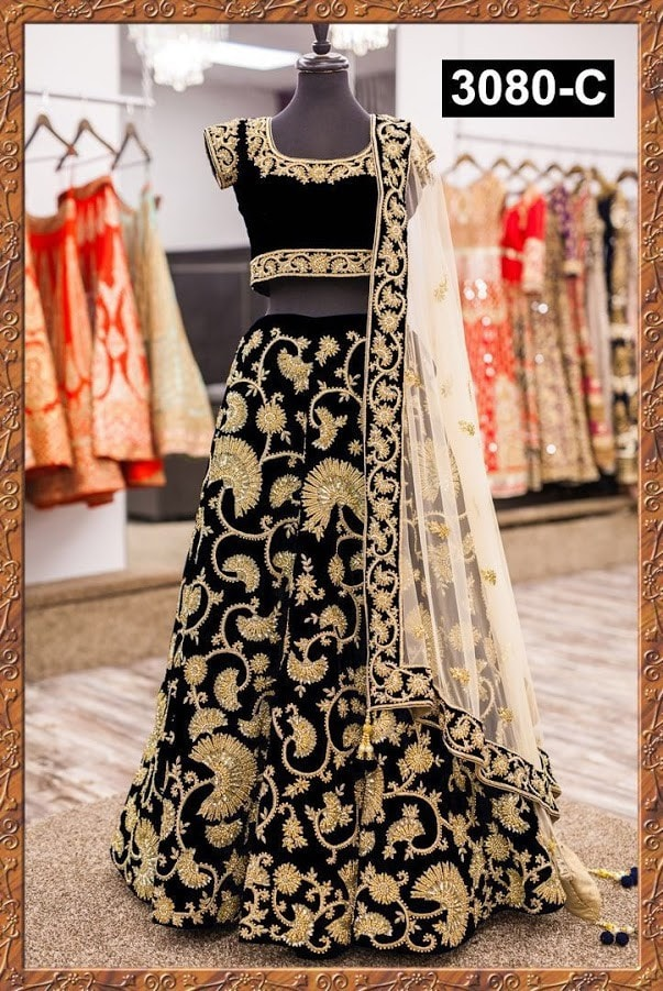 Black Velvet Zari Embroidery Bollywood Lehenga Wedding ,Indian Dresses - 1
