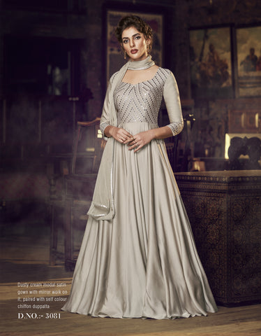 Dusty Cream Satin Modal Embroidered Designer Indian Anarkali Dresses