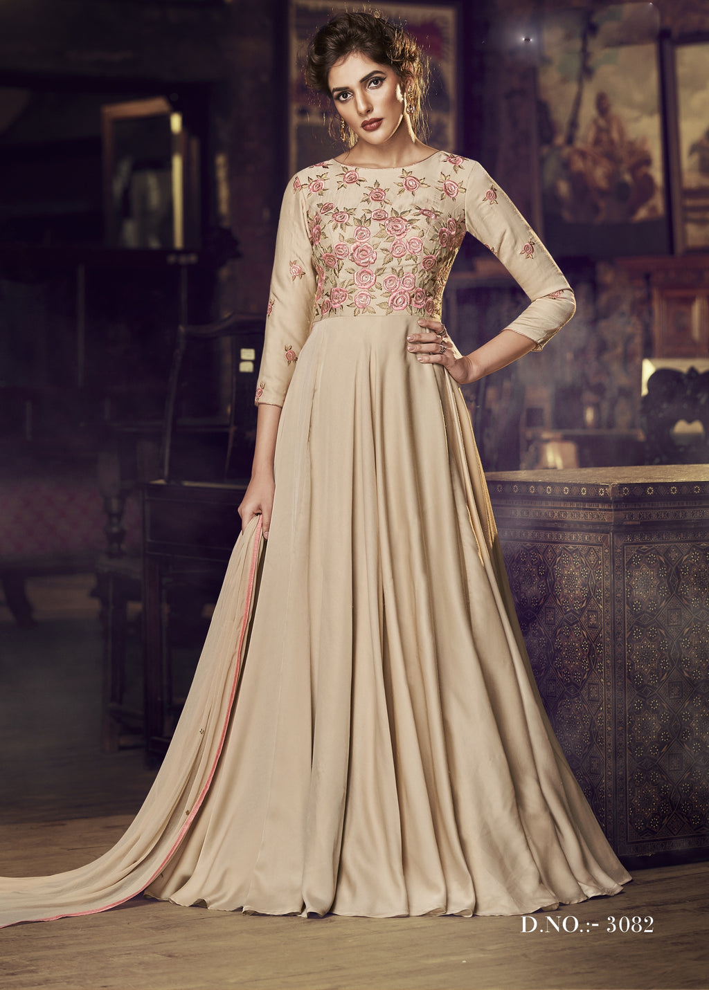 Chikoo Satin Modal Embroidered Designer Indian Party Dresses