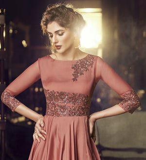 Dusty Rose Satin Modal Embroidered Party Wear Ladies Suits
