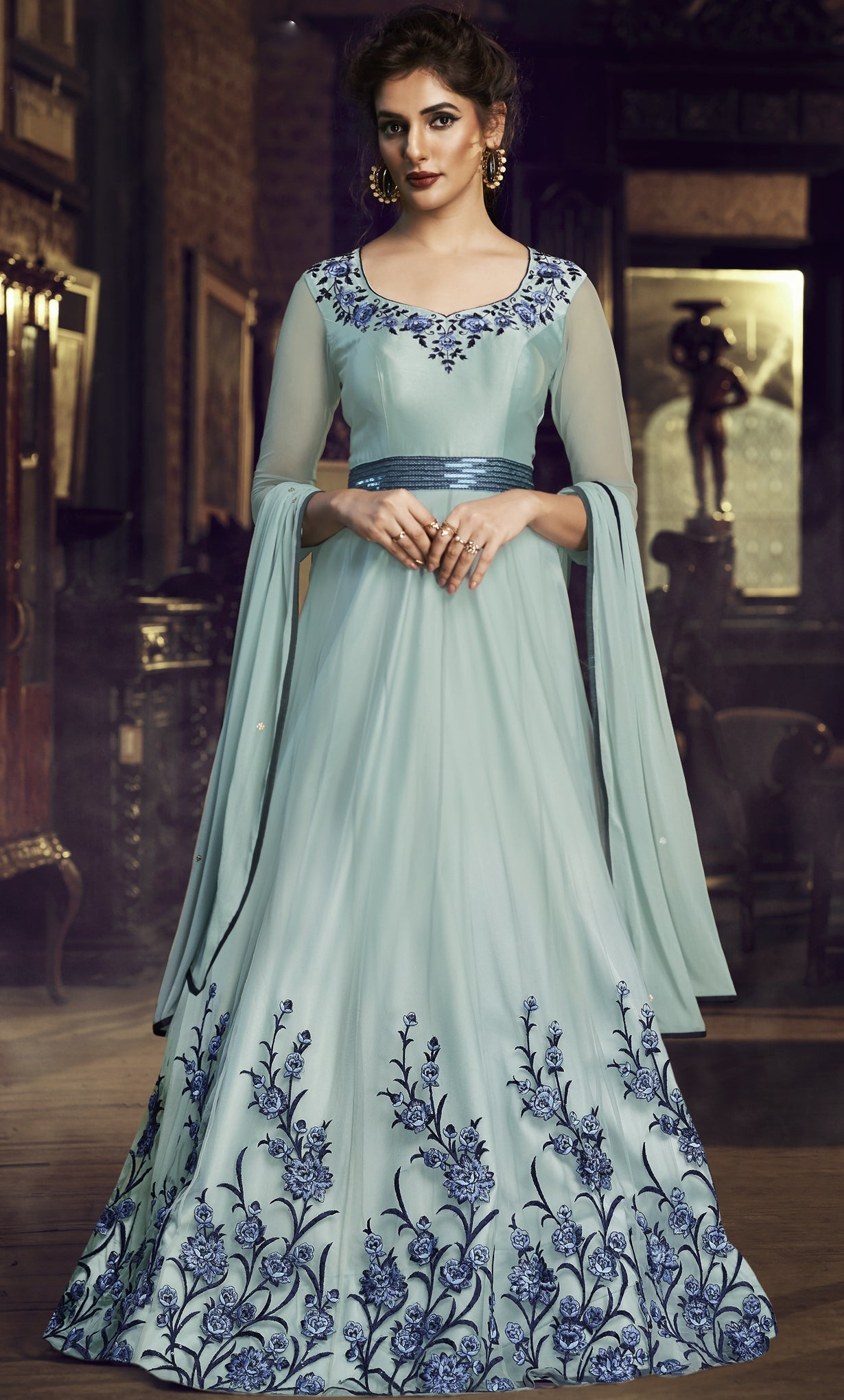 Sky Blue Net Embroidered Party Gown Indian Girls Suits Online Indian Dresses,Elegant Sophisticated Wedding Mehndi Elegant Sophisticated Wedding Bridal Dresses 2020