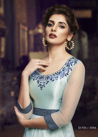 Sky Blue Net Embroidered Party Gown Indian Girls Suits Online