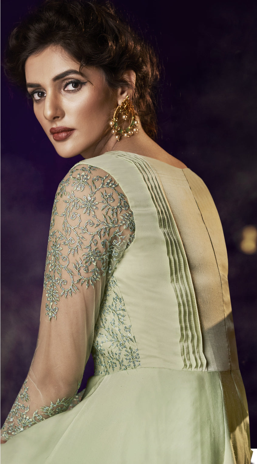 Light Pista Green Satin Embroidered Party Gown Indian Dresses