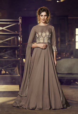 Dusty Cedar Satin Embroidered Stylish Gown Ladies Suit Fashion